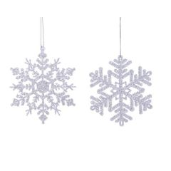 Hanging Glittered Silver Snowflake Decoration 12cm