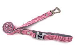 Hugo & Hudson Pink Herringbone Leash XS/S