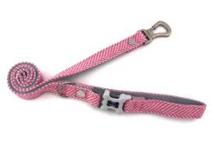 Hugo & Hudson Pink Herringbone Leash M/L