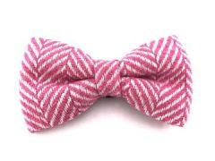 Hugo & Hudson Pink Herringbone Bow Tie L