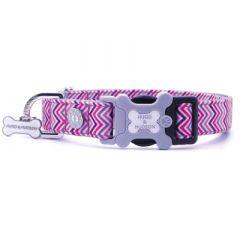 Hugo & Hudson Pink and Purple Chevron Dog Collar M