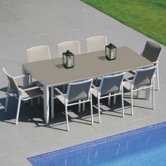 Westminster Madison Rectangular 8 Seater Garden Dining Set White/Stone