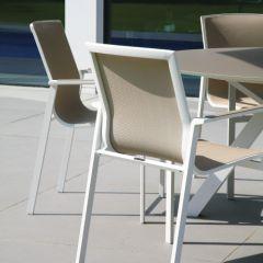 Westminster Coast Rectangular 6 Seater Garden Dining Set White/Stone