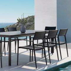 Westminster Coast Rectangular 6 Seater Garden Dining Set Charcoal
