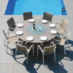 Westminster Madison/Coast Round Eight Seat Set  Dining Set White/Stone