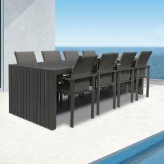 Westminster Edge/Design Rectangular Eight Seat Set Charcoal