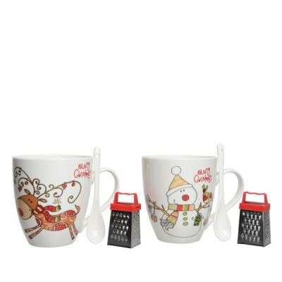 11.5cm Porcelain Mug Hot Chocolate Set w Snowman or Reindeer decoration   White