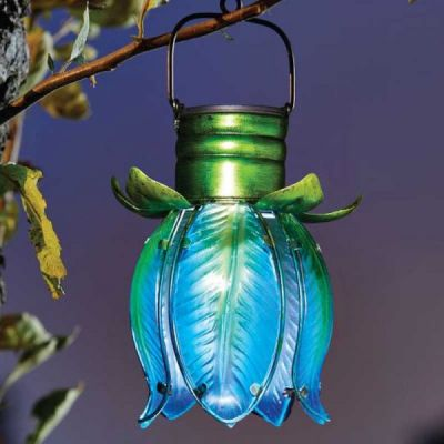 Smart Garden Solar Blue & Green Tulip Pendant Light