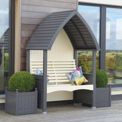 AFK Garden Cottage Painted Arbour Charcoal & Cream