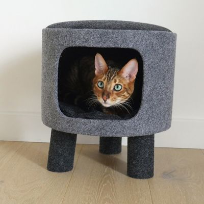 Catwalk Collection Charcoal Felt Stool