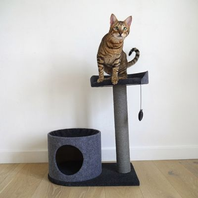 Catwalk Collection Charcoal Felt Cat House and Perch