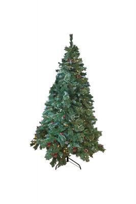 Pre Lit 7' Berry & Cone Christmas Tree