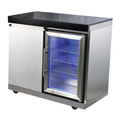 Draco Grills Double Cabinet with Single Fridge Outdoor Kitchen Module