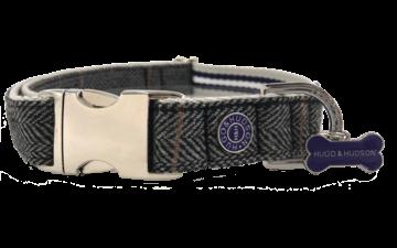 Hugo & Hudson Grey Checked Herringbone Collar L