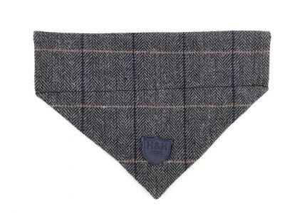 Hugo & Hudson Grey Checked Tweed Bandana M