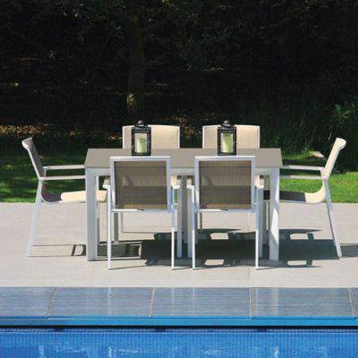 Westminster Madison Rectangular 6 Seater Garden Dining Set White