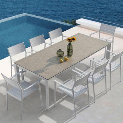 Westminster Coast Rectangular 8 Seater Garden Dining Set White/Dawn