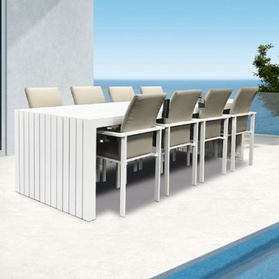 Westminster Edge/Design Rectangular Eight Seat Set White