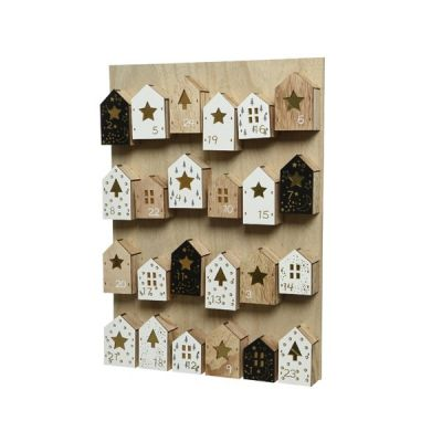45cm MDF Wall Hanging Advent Calendar   Natural