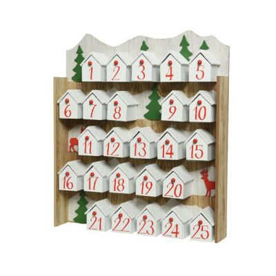 37cm MDF Wall Hanging Advent Calendar   White