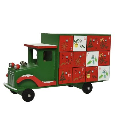 30cm MDF Advent Calendar Truck   Green/Red