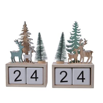 Plywood Advent Calendar with Reindeer and Trees   Natural