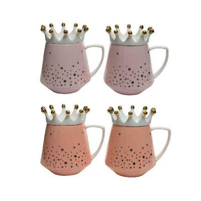 12.5cm Porcelain Mug w Crown Lid   Pink/Peach