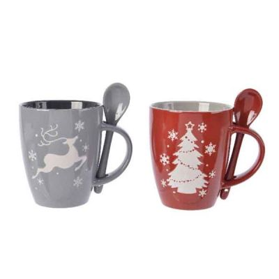 10.3cm Stoneware Mug w Spoon   Grey/Pink