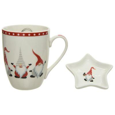 10.4cm Porcelain Tea Mug Set w Tea tip   White