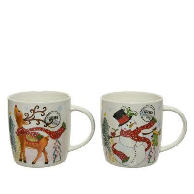 9cm Porcelain Mug w Snowman or Reindeer decoration   White