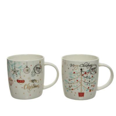 9cm Porcelain Mug w Christmas Tree or Baubles decoration   White