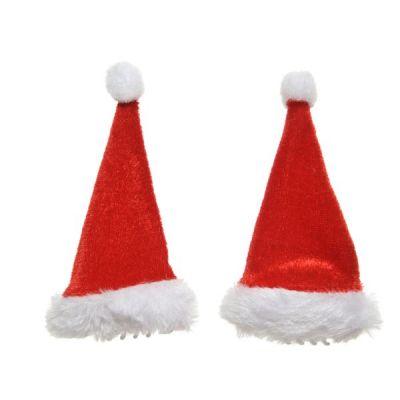Santa Hat Hair Clips   Red/White