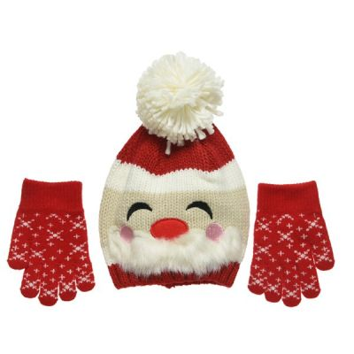 Christmas Themed Hat and Gloves Set   Red/Colours