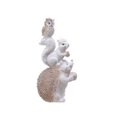 Hedgehog, Squirrel & Owl Figurine