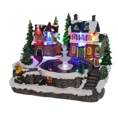 LED Village with Fountain