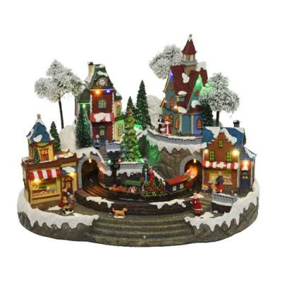 LED Winter Village w Train scene