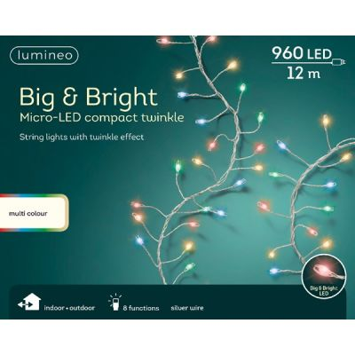 Micro LED Lumineo Big and Bright Compact Twinkle String Lights   Multicoloured 960 LEDs