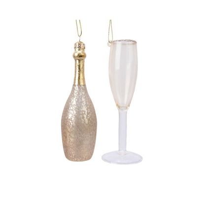 Hanging Champagne & Flute Decoration
