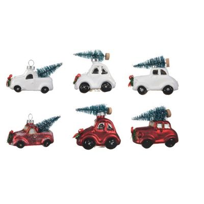 Hanging Red & White Car with Christmas Tree Decoration