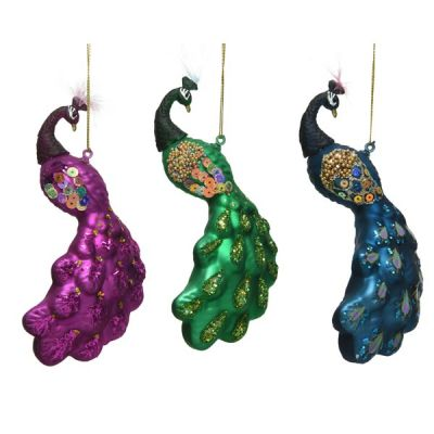 Hanging Shimmering Peacock Decoration