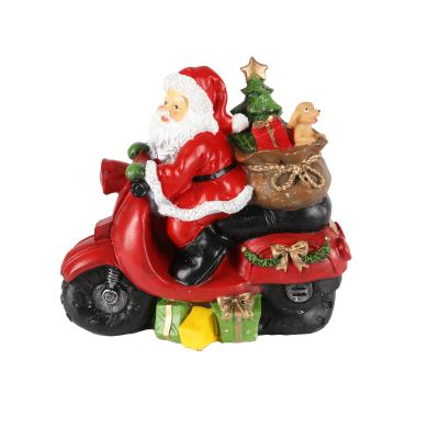 Santa on a Motorbike Decorative Figurine