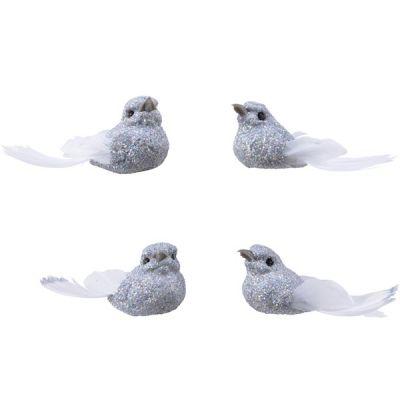 Decrotive Silver & White Clip On Bird Decoration