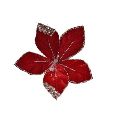 Christmas Red & White Clip On Flower Decoration