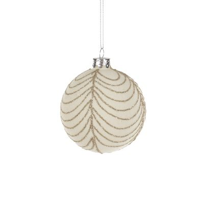 Glass Bauble with Gold Scallop