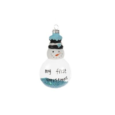 My First Christmas Snowman Decoration with Blue Stars