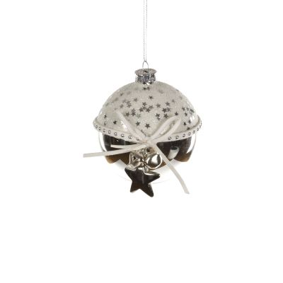 Glass Bauble with Bow and Bells