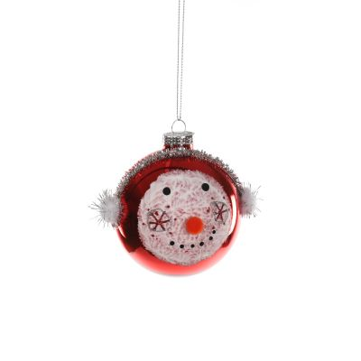 Glass Bauble with Snowman Face