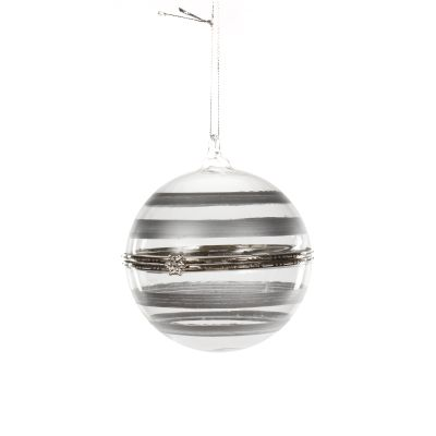 Glass Bauble Hinged with Silver