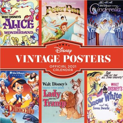 Disney Vintage Posters Official Square Wall Calendar 2021