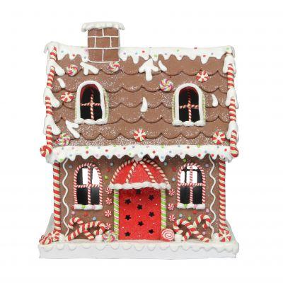 38cm Pre Lit Gingerbread House Decoration